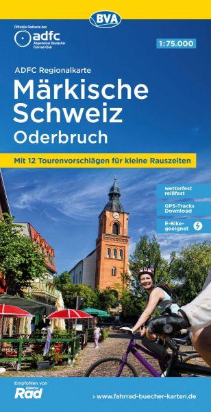 ADFC-Regionalkarte, Märkische Schweiz, Oderbruch, Radkarte, 1:75.000