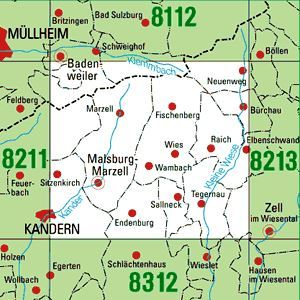 8212 MALSBURG-MARZELL topographische Karte 1:25.000 Baden-Württemberg, TK25