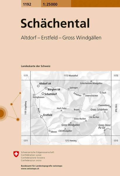 1192 Schächental topographische Wanderkarte Schweiz 1:25.000