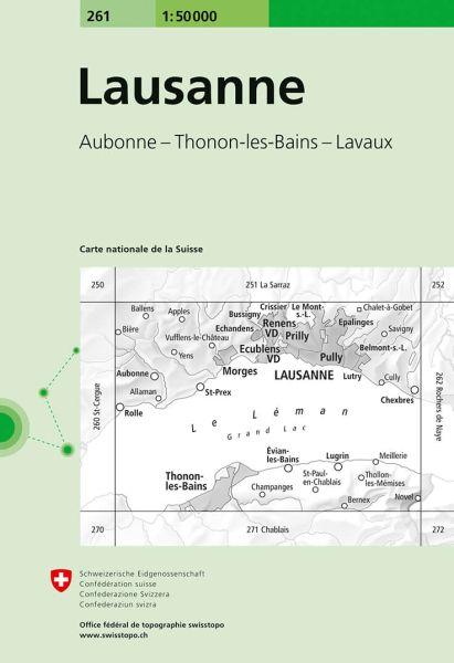 261 Lausanne topographische Wanderkarte Schweiz 1:50.000