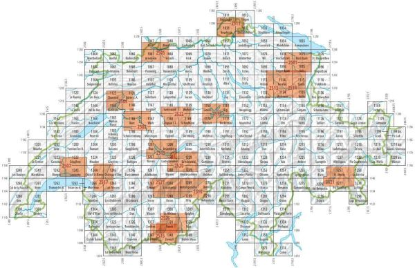 Blattschnitt / Kartenübersicht für Swisstopo - Landeskarten der Schweiz