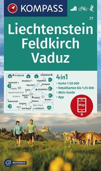Kompass Karte 21 Liechtenstein Feldkirch Wanderkarte