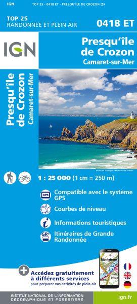 IGN 0418 ET Camaret, Presqu'ile de Crozon, Frankreich Wanderkarte 1:25.000