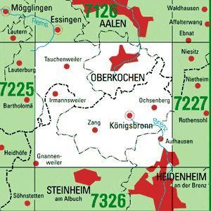 7226 OBERKOCHEN topographische Karte 1:25.000 Baden-Württemberg, TK25