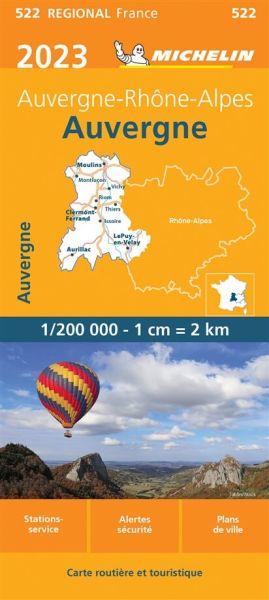 Michelin regional 522 Auvergne, Limousin Straßenkarte 2020 1:200.000