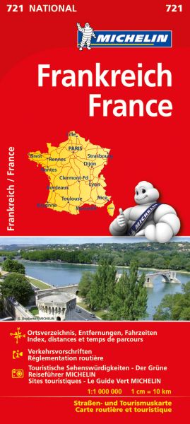 Michelin 721 Frankreich einseitig bedruckt