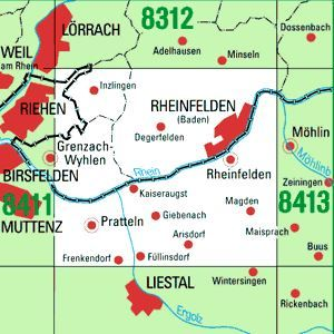 8412 RHEINFELDEN topographische Karte 1:25.000 Baden-Württemberg, TK25