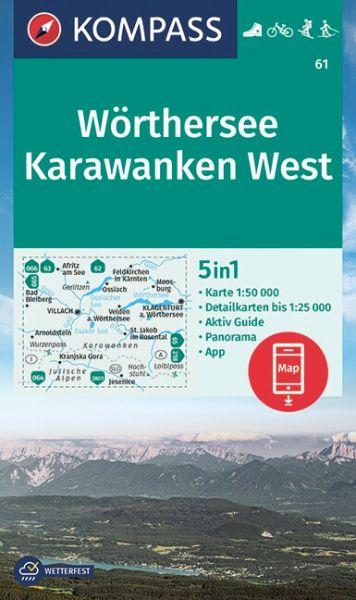 Kompass Karte 61, Wörthersee, Karawanken West 1:50.000, Wandern, Rad fahren
