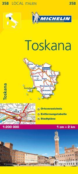 Michelin 358 Toskana Straßenkarte 1:200.000