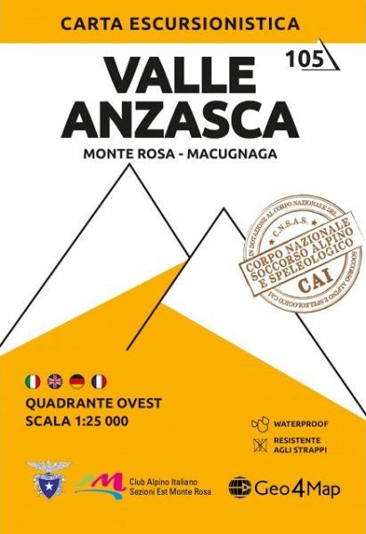 Piemont Wanderkarte: Valle Anzasca West 1:25.000 – Geo4Map Bl. 5