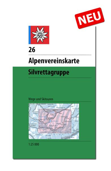 DAV Alpenvereinskarte 26 Silvrettagruppe, Wander- und Skikarte 1:25.000