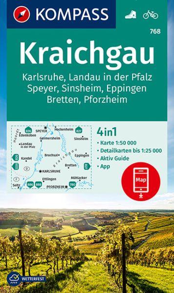 Kompass Karte 768, Kraichgau, Karlsruhe 1:50.000, Wandern, Rad fahren