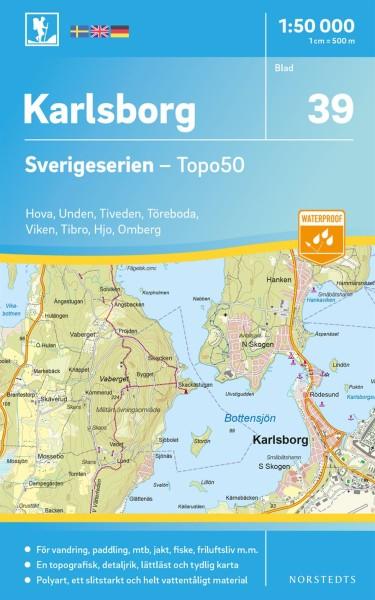 Karlsborg Wanderkarte 1:50.000, Schweden Topo50 Blatt 39