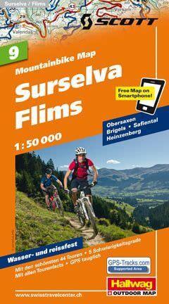 Hallwag Mountainbike Map Bl.9, Surselva, Flims, 1:50.000, Wasser- und reißfest
