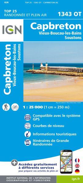 IGN 1343 OT Capbreton, Vieux-Boucau-les-Bains, Frankreich Wanderkarte 1:25.000