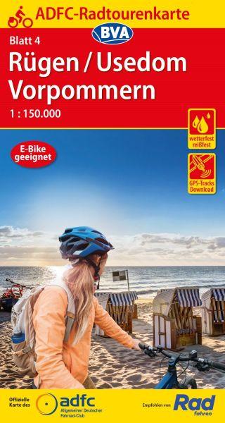 ADFC Radtourenkarte 4, Rügen - Usedom - Vorpommern Radwanderkarte 1:150.000