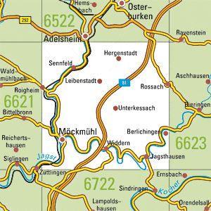 6622 MÖCKMÜHL topographische Karte 1:25.000 Baden-Württemberg, TK25