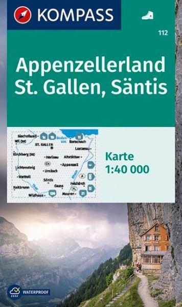 Kompass Karte 112, Appenzellerland, St. Gallen 1:40.000, Wandern