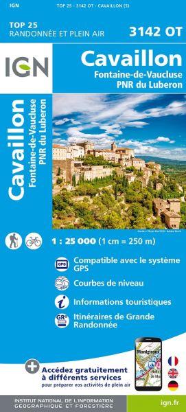 IGN 3142 OT Cavaillon, Fontaine-de-Vaucluse, Frankreich Wanderkarte 1:25.000