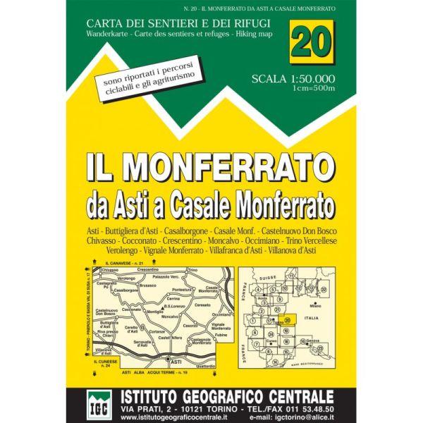 IGC 20 - Wanderkarte für Il Monferrato da Asti a Casale Monferrato 1:50.000
