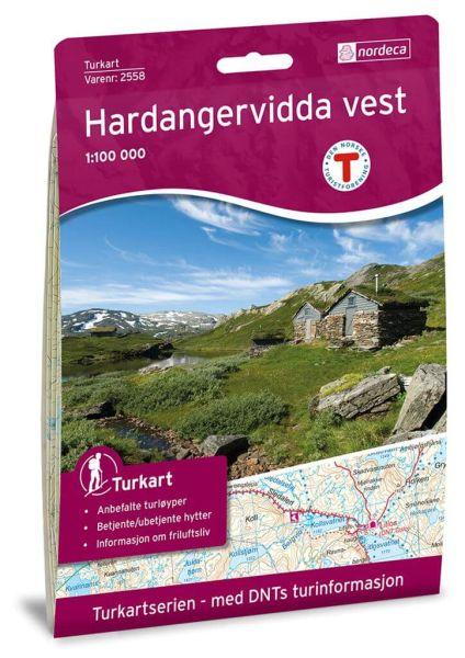 Norwegen topographische Wanderkarte Hardangervidda Vest/West 1:100.000, Turkart 2558