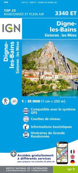 IGN 3340 ET Digne-les-Bains, Sisteron, Frankreich 1:25.000