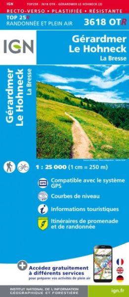 IGN 3618 OTR Le Hohneck / Gérardmer / La Bresse, reiß- und wasserfeste Wanderkarte 1:25.000