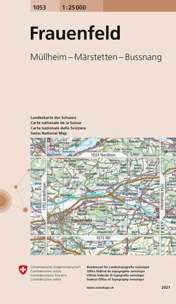 1053 Frauenfeld topographische Wanderkarte Schweiz 1:25.000