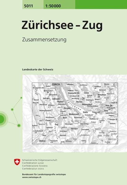5011 Zürichsee - Zug topographische Wanderkarte Schweiz 1:50.000