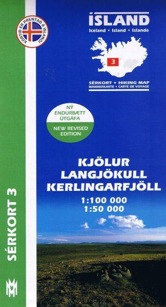 Sérkort 3: Kjölur, Langjökull, Kerlingarfjöll - Island Wanderkarte 1:100.000 / 1:50.000