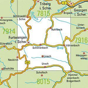 7915 FURTWANGEN topographische Karte 1:25.000 Baden-Württemberg, TK25