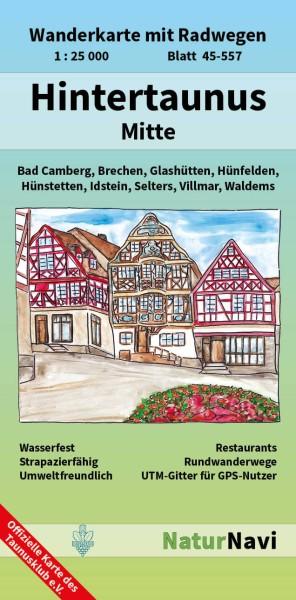 Hintertaunus Mitte 1:25.000 Wanderkarte mit Radwegen – NaturNavi Bl. 45-557