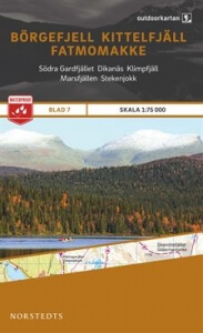 Börgefjell - Kittelfjäll - Fatmomakke, Outdoorkartan Blatt 7, Schweden Wanderkarte 1:75.000
