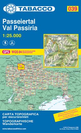 Tabacco 039 Val Passiria / Passeiertal Wanderkarte 1:25.000