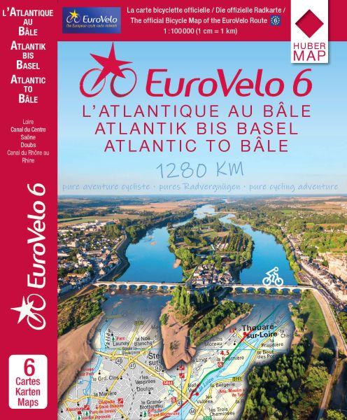 Eurovelo 6 vom Atlantik bis zum Rhein (Basel) mit dem Fahrrad - Kartenset (6 Karten in 1:100.000)
