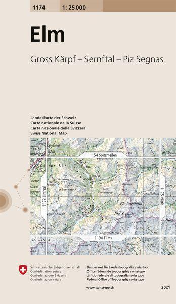 1174 Elm topographische Wanderkarte Schweiz 1:25.000