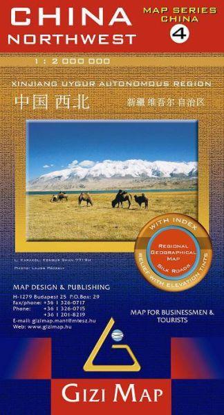 Gizi Map Series Blatt 4: China Northwest / Nordwest-China Straßenkarte, Landkarte 1:2.000.000