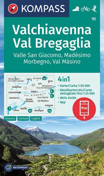 Kompass Karte 92, Valchiavenna, Val Bregaglia 1:50.000, Wandern