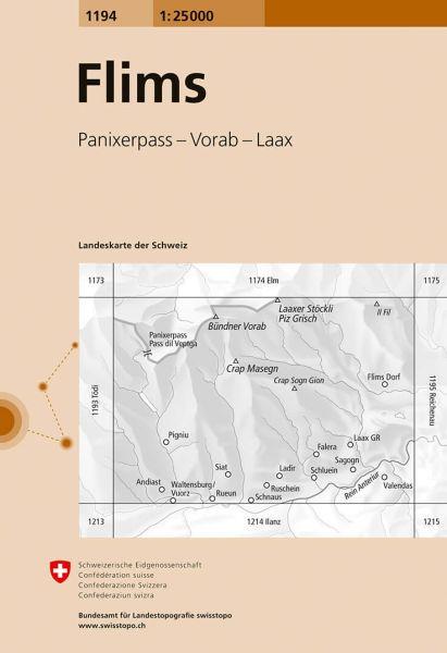 1194 Flims topographische Wanderkarte Schweiz 1:25.000