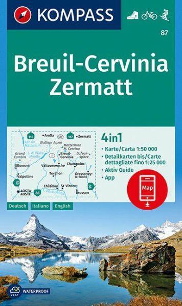 Kompass Karte 87 Breuil Cervinia Zermatt Wanderkarte Radkarte