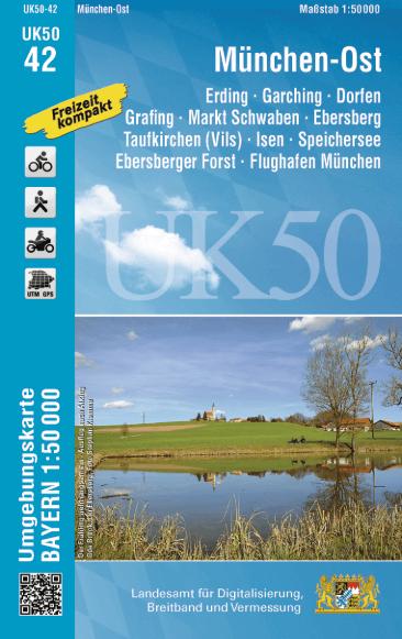 UK50-42 München Ost Rad- und Wanderkarte 1:50.000 - Umgebungskarte Bayern