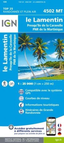 IGN 4502 MT Le Lamentin / PNR, Martinique Wanderkarte 1:25.000