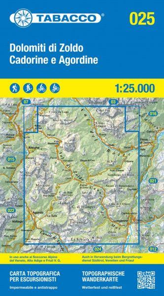 Tabacco 025 Dolomiti di Zoldo - Cadorine e Agordine Wanderkarte 1:25.000