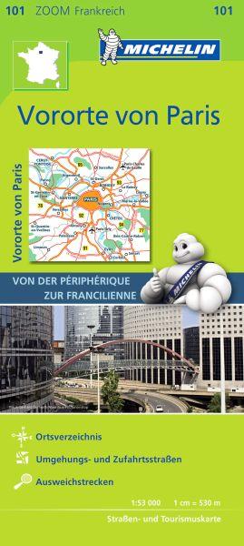 Michelin 101 Vororte von Paris Straßenkarte mit touristischen Hinweisen, 1:53.000