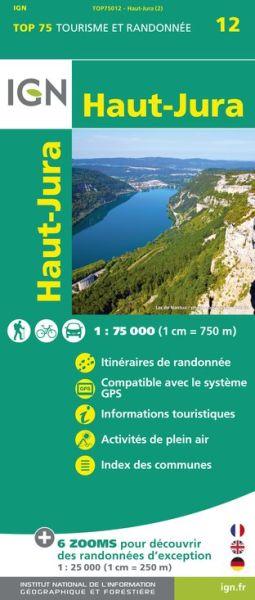 Haut-Jura 1:75.000 Rad- und Wanderkarte, IGN Top75012