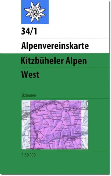 DAV Alpenvereinskarte 34/1 Kitzbüheler Alpen West, Skikarte 1:50.000