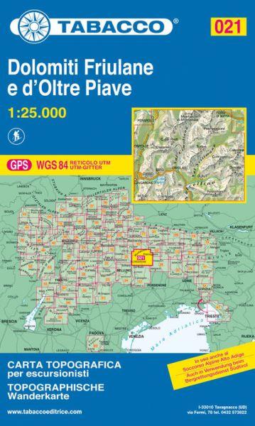 Tabacco 021 Dolomiti Friulane e d'Oltre Piave Wanderkarte 1:25.000
