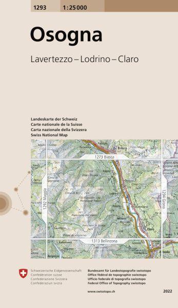 1293 Osogna topographische Wanderkarte Schweiz 1:25.000