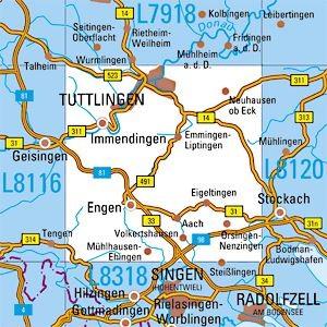 L8118 Tuttlingen topographische Karte 1:50.000 Baden-Württemberg, TK50