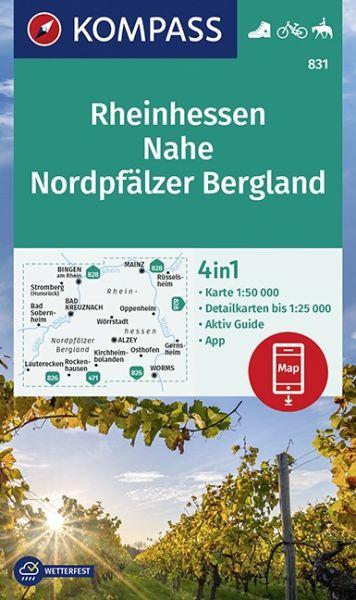 Kompass Karte 831, Rheinhessen, Nahe, Nordpfälzer Bergland, 1:50.000, Wandern, Rad fahren
